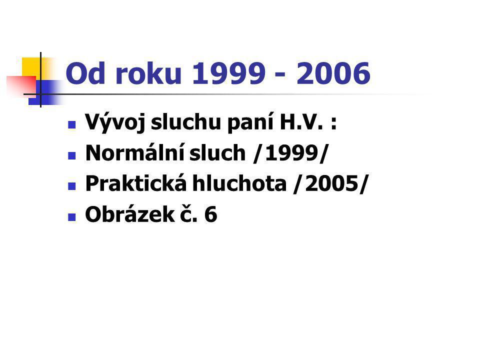 Od roku 1999 - 2006  Vývoj sluchu paní H.V. :  Normální sluch /1999/  Praktická hluchota /2005/  Obrázek č. 6