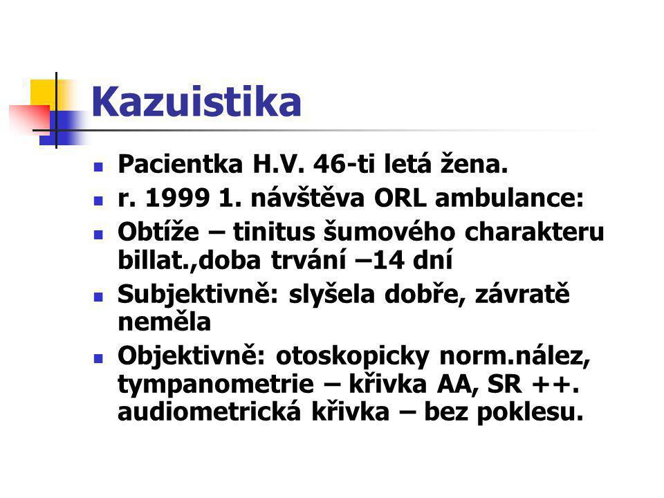 Kazuistika  Pacientka H.V. 46-ti letá žena.  r. 1999 1. návštěva ORL ambulance:  Obtíže – tinitus šumového charakteru billat.,doba trvání –14 dní 