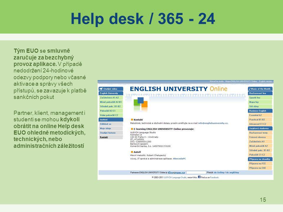 15 Help desk / 365 - 24 Tým EUO se smluvně zaručuje za bezchybný provoz aplikace. V případě nedodržení 24-hodinové odezvy podpory nebo včasné aktivace
