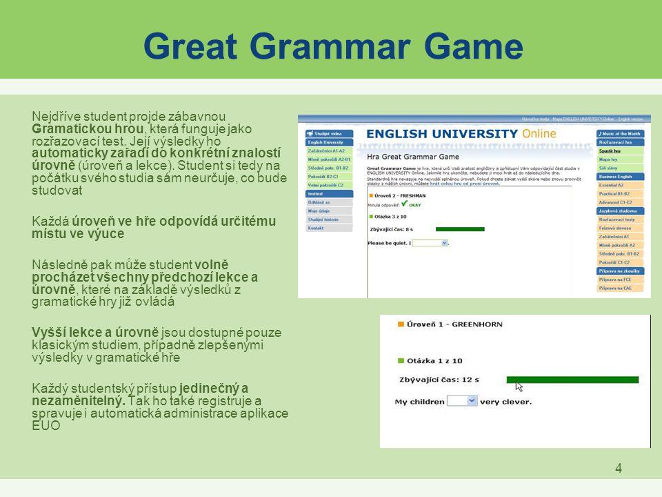 4 Great Grammar Game Nejdříve student projde zábavnou Gramatickou hrou, která funguje jako rozřazovací test. Její výsledky ho automaticky zařadí do ko
