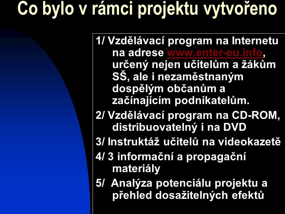Co bylo v rámci projektu vytvořeno 1/ Vzdělávací program na Internetu na adrese www.enter-eu.info, určený nejen učitelům a žákům SŠ, ale i nezaměstnan