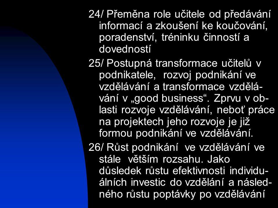 24/ Přeměna role učitele od předávání informací a zkoušení ke koučování, poradenství, tréninku činností a dovedností 25/ Postupná transformace učitelů