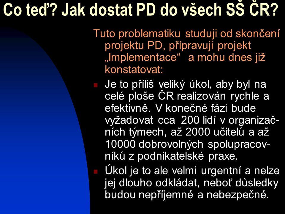 """Co teď? Jak dostat PD do všech SŠ ČR? Tuto problematiku studuji od skončení projektu PD, přípravuji projekt """"Implementace"""" a mohu dnes již konstatovat"""