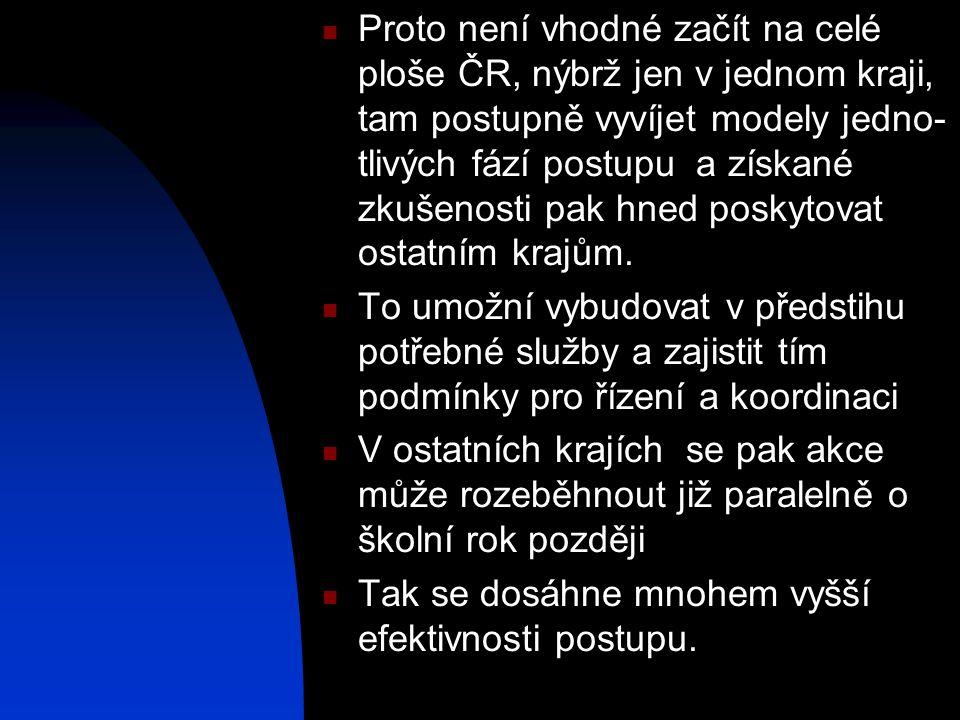  Proto není vhodné začít na celé ploše ČR, nýbrž jen v jednom kraji, tam postupně vyvíjet modely jedno- tlivých fází postupu a získané zkušenosti pak