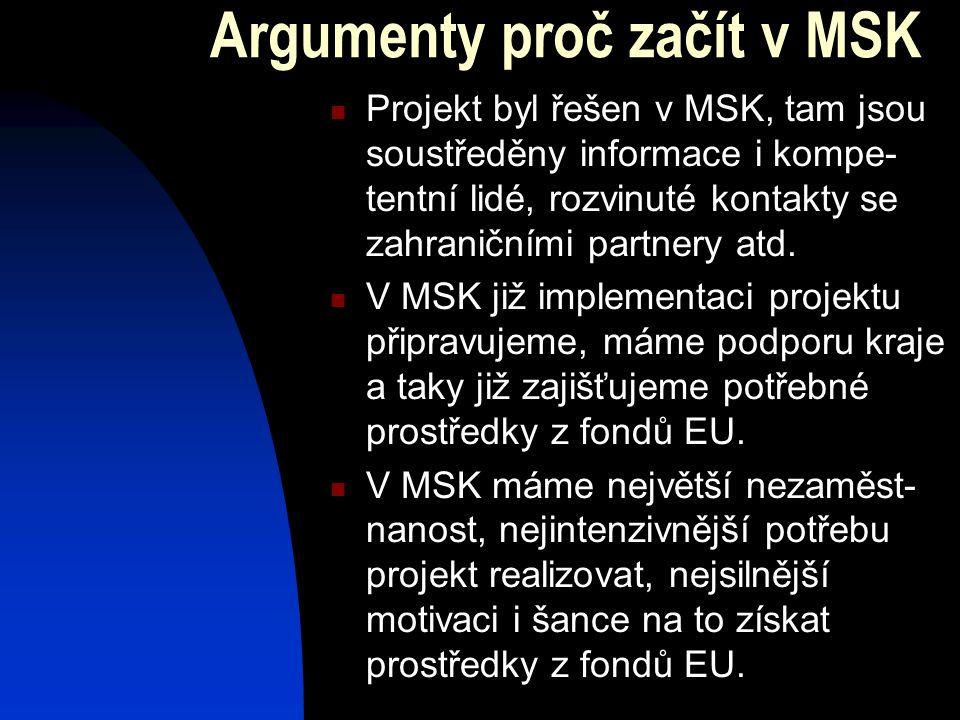 Argumenty proč začít v MSK  Projekt byl řešen v MSK, tam jsou soustředěny informace i kompe- tentní lidé, rozvinuté kontakty se zahraničními partnery