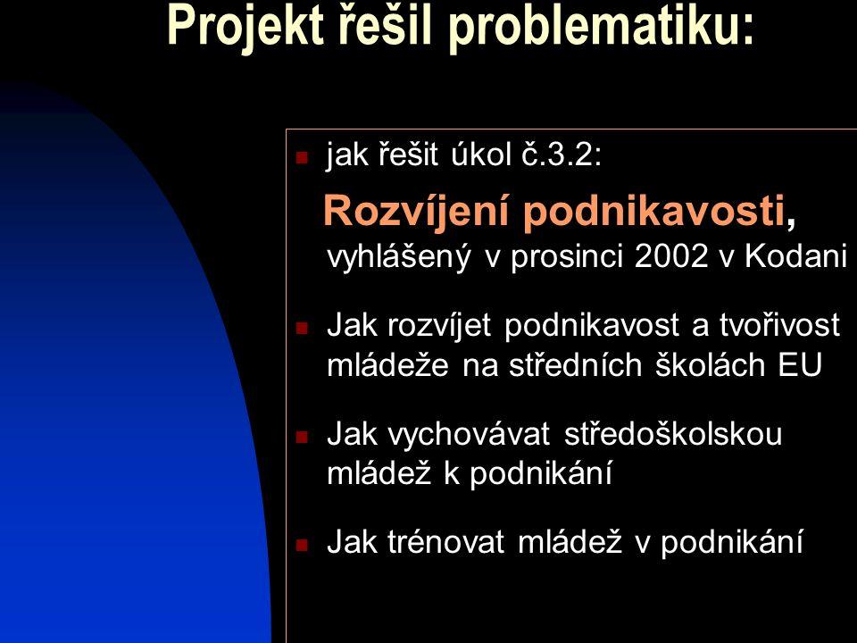 Projekt řešil problematiku:  jak řešit úkol č.3.2: Rozvíjení podnikavosti, vyhlášený v prosinci 2002 v Kodani  Jak rozvíjet podnikavost a tvořivost