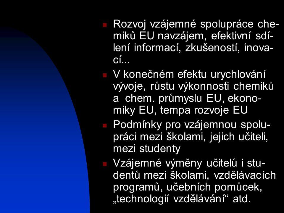  Rozvoj vzájemné spolupráce che- miků EU navzájem, efektivní sdí- lení informací, zkušeností, inova- cí...  V konečném efektu urychlování vývoje, rů