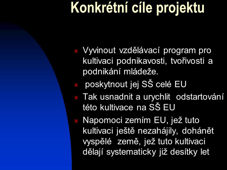 Konkrétní cíle projektu  Vyvinout vzdělávací program pro kultivaci podnikavosti, tvořivosti a podnikání mládeže.  poskytnout jej SŠ celé EU  Tak us