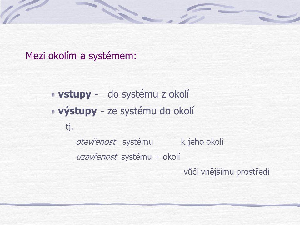 Mezi okolím a systémem: vstupy - do systému z okolí výstupy - ze systému do okolí tj. otevřenost systému k jeho okolí uzavřenost systému + okolí vůči
