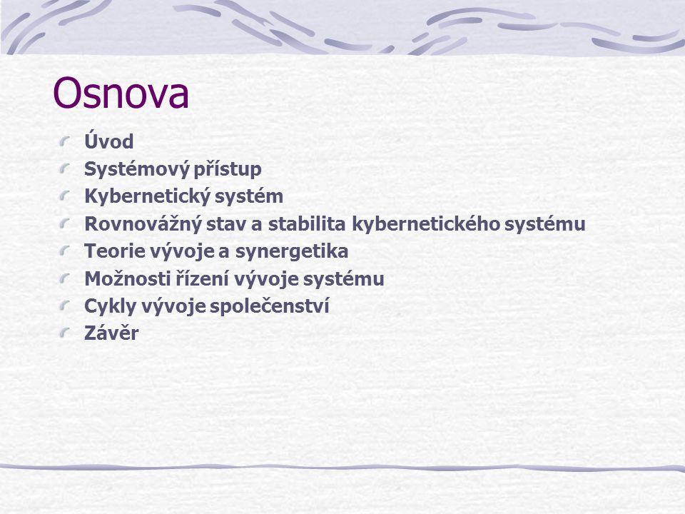 Osnova Úvod Systémový přístup Kybernetický systém Rovnovážný stav a stabilita kybernetického systému Teorie vývoje a synergetika Možnosti řízení vývoj