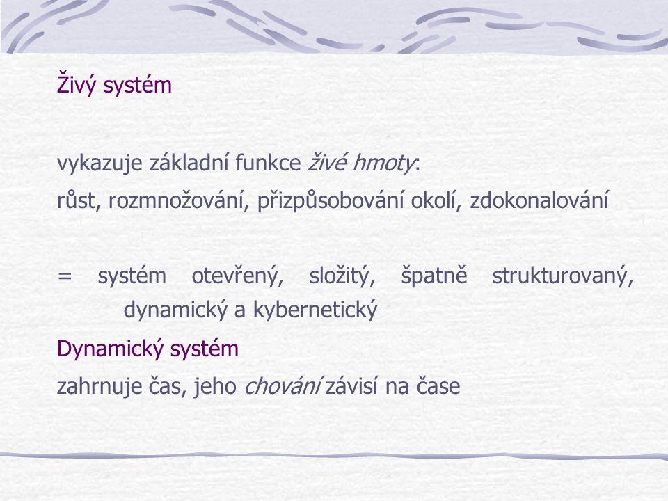 Živý systém vykazuje základní funkce živé hmoty: růst, rozmnožování, přizpůsobování okolí, zdokonalování = systém otevřený, složitý, špatně strukturov