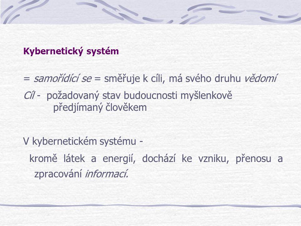 Kybernetický systém = samořídící se = směřuje k cíli, má svého druhu vědomí Cíl - požadovaný stav budoucnosti myšlenkově předjímaný člověkem V kyberne