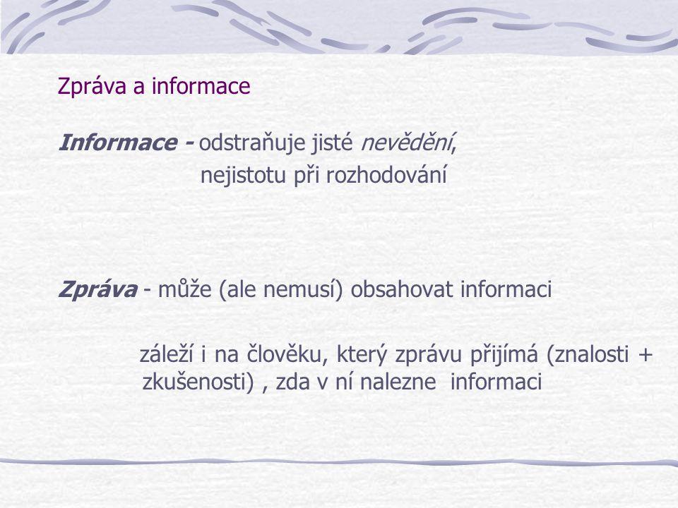 Zpráva a informace Informace - odstraňuje jisté nevědění, nejistotu při rozhodování Zpráva - může (ale nemusí) obsahovat informaci záleží i na člověku