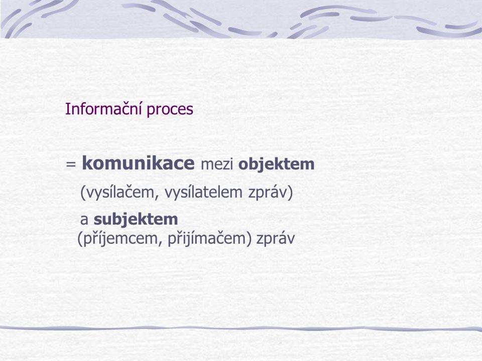 Informační proces = komunikace mezi objektem (vysílačem, vysílatelem zpráv) a subjektem (příjemcem, přijímačem) zpráv