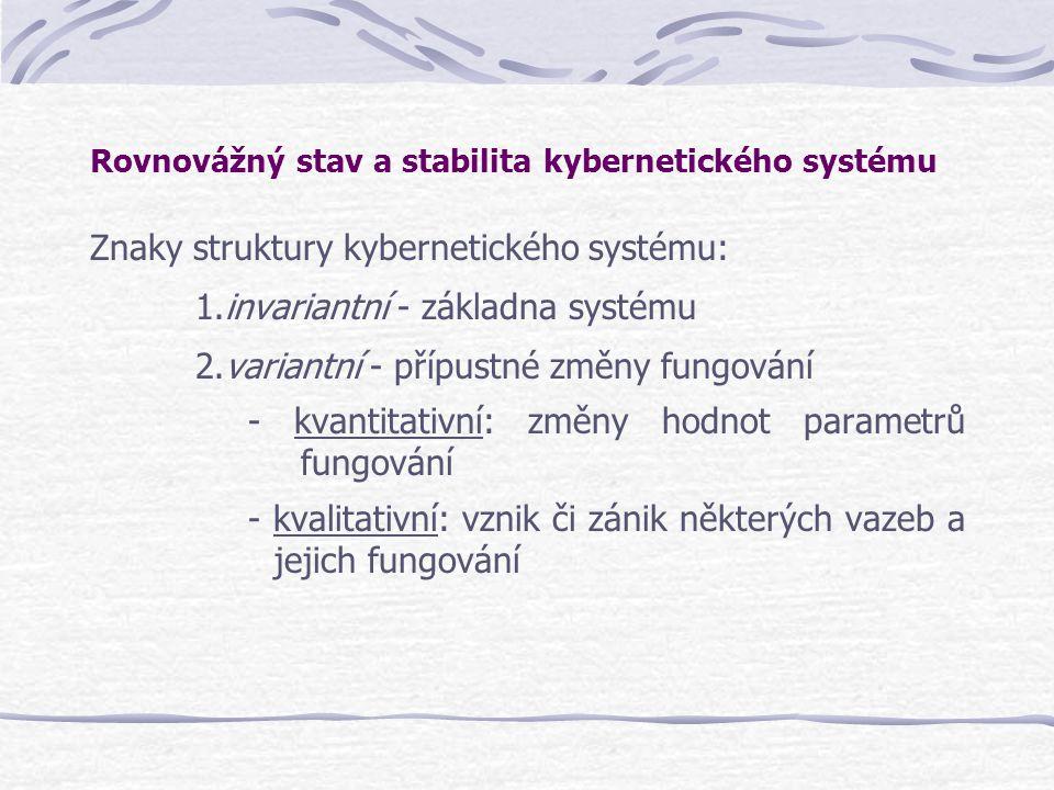 Rovnovážný stav a stabilita kybernetického systému Znaky struktury kybernetického systému: 1.invariantní - základna systému 2.variantní - přípustné zm