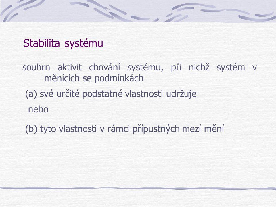 Stabilita systému souhrn aktivit chování systému, při nichž systém v měnících se podmínkách (a) své určité podstatné vlastnosti udržuje nebo (b) tyto