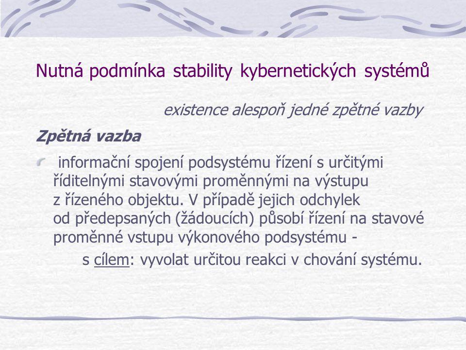 Nutná podmínka stability kybernetických systémů existence alespoň jedné zpětné vazby Zpětná vazba informační spojení podsystému řízení s určitými řídi