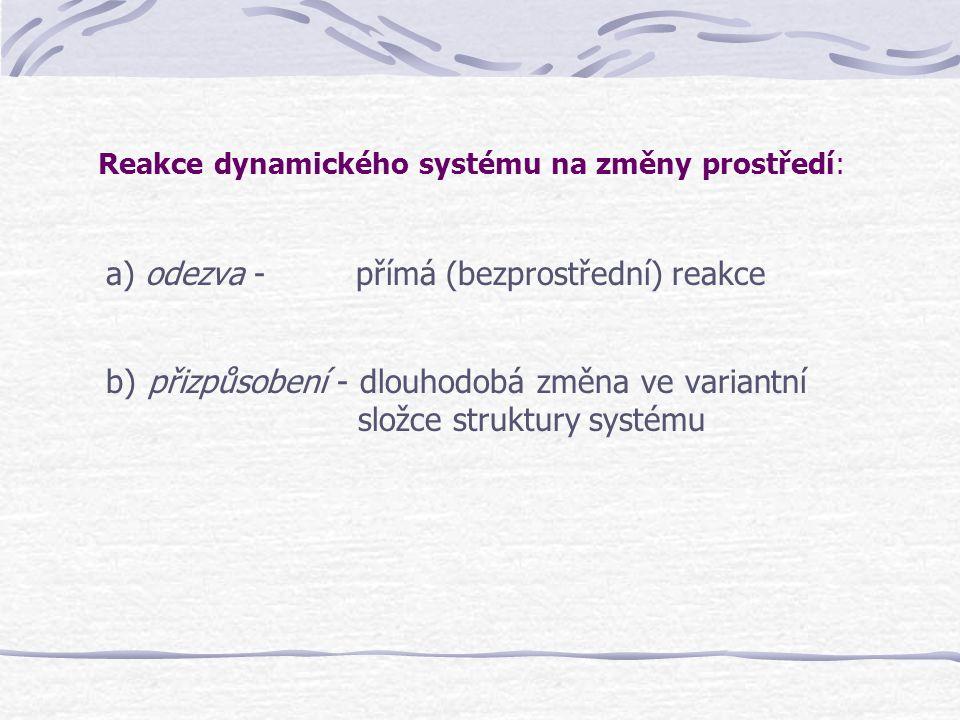 Reakce dynamického systému na změny prostředí: a) odezva - přímá (bezprostřední) reakce b) přizpůsobení - dlouhodobá změna ve variantní složce struktu