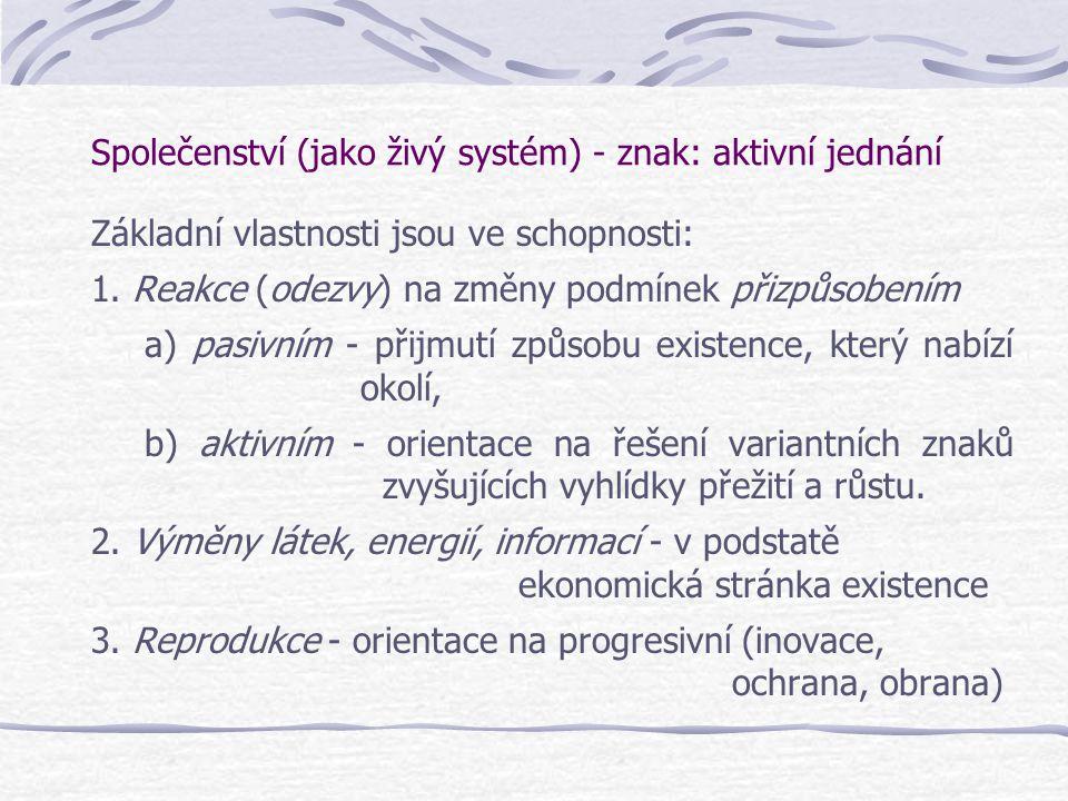 Společenství (jako živý systém) - znak: aktivní jednání Základní vlastnosti jsou ve schopnosti: 1. Reakce (odezvy) na změny podmínek přizpůsobením a)