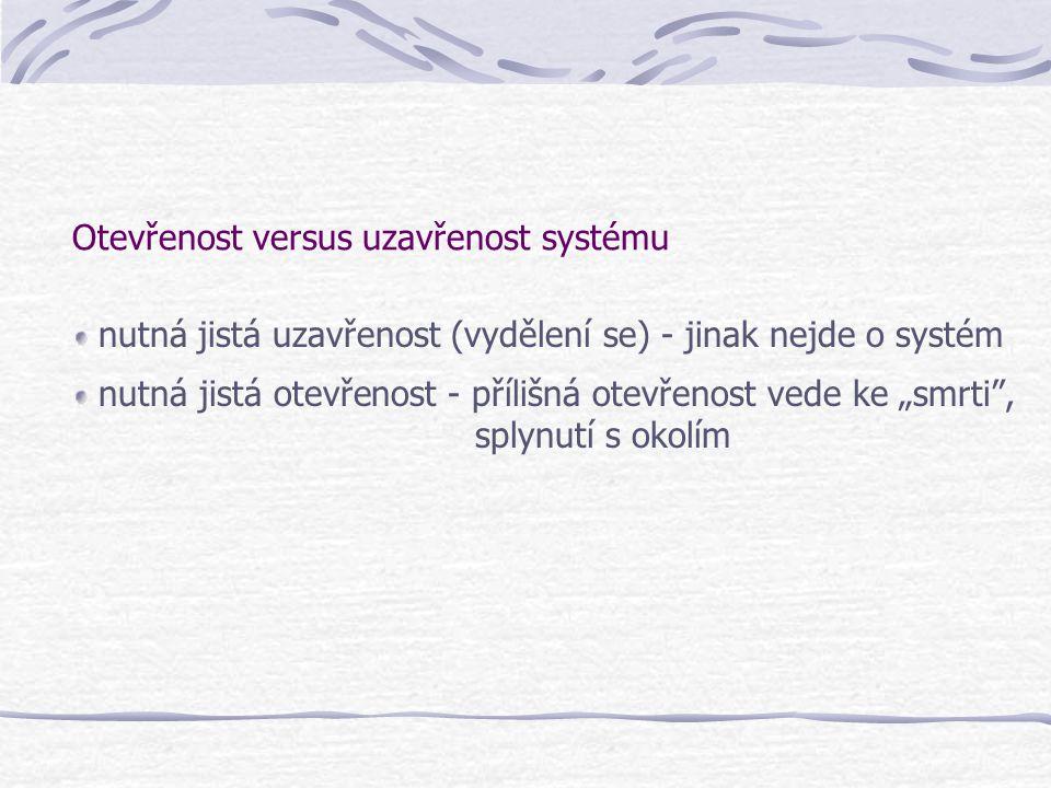 Otevřenost versus uzavřenost systému nutná jistá uzavřenost (vydělení se) - jinak nejde o systém nutná jistá otevřenost - přílišná otevřenost vede ke