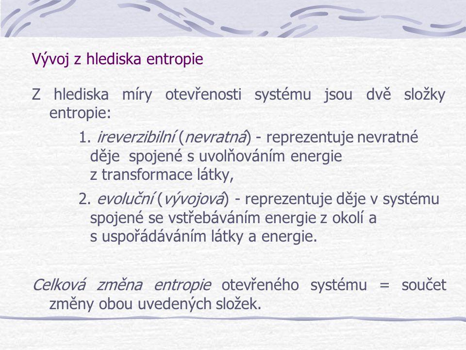 Vývoj z hlediska entropie Z hlediska míry otevřenosti systému jsou dvě složky entropie: 1. ireverzibilní (nevratná) - reprezentuje nevratné děje spoje