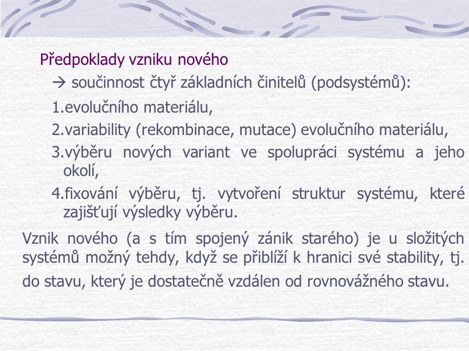 Předpoklady vzniku nového  součinnost čtyř základních činitelů (podsystémů): 1.evolučního materiálu, 2.variability (rekombinace, mutace) evolučního m