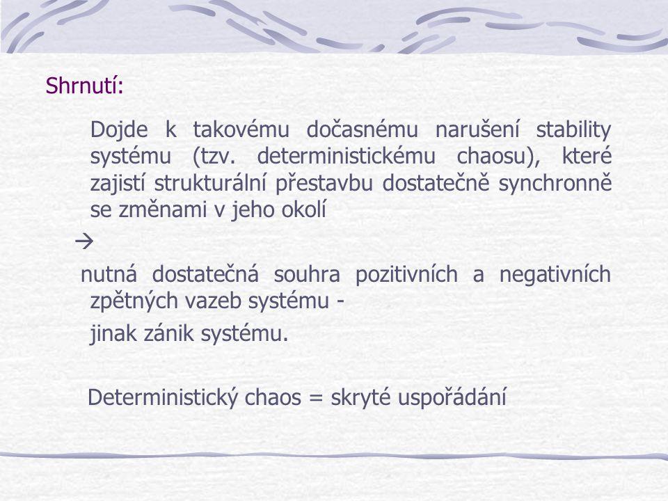 Shrnutí: Dojde k takovému dočasnému narušení stability systému (tzv. deterministickému chaosu), které zajistí strukturální přestavbu dostatečně synchr
