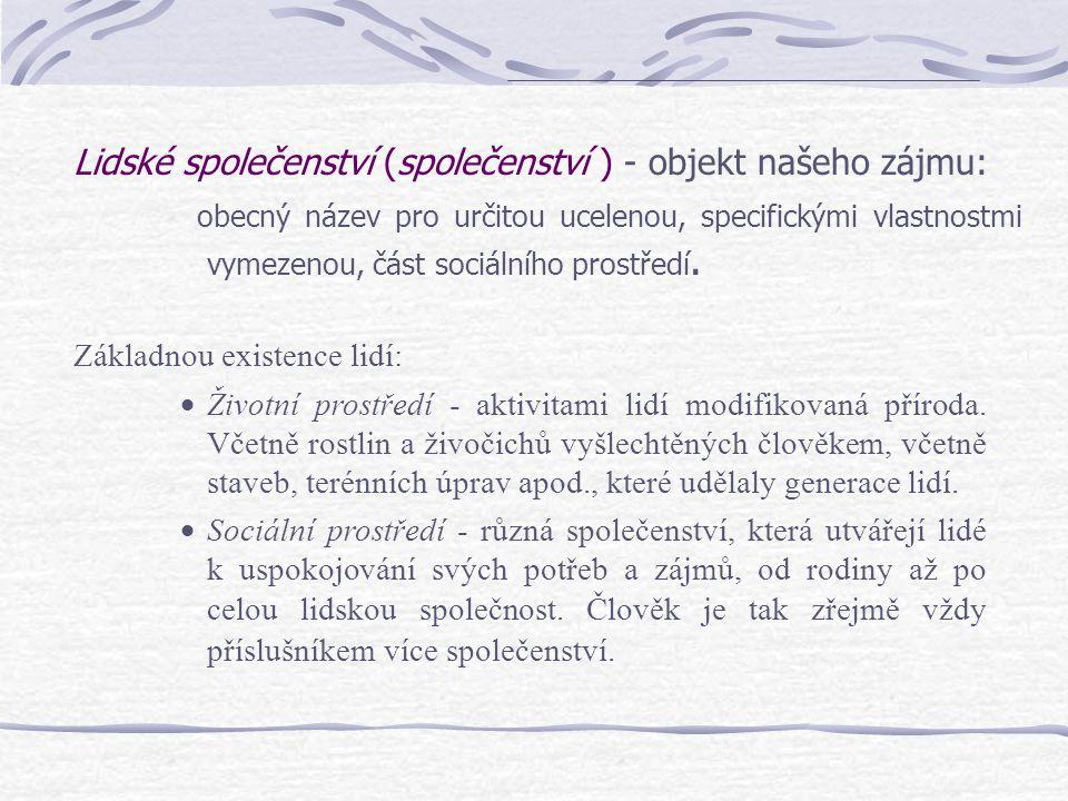 Lidské společenství (společenství ) - objekt našeho zájmu: obecný název pro určitou ucelenou, specifickými vlastnostmi vymezenou, část sociálního pros