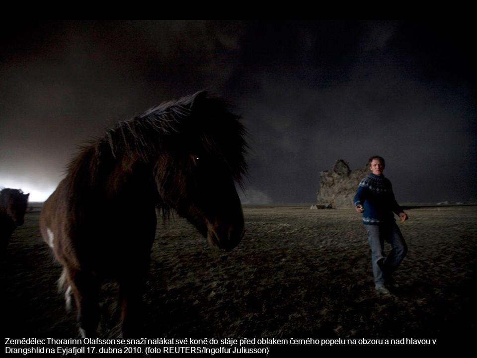 Zemědělec Thorarinn Ólafsson se snaží nalákat své koně do stáje před oblakem černého popelu na obzoru a nad hlavou v Drangshlid na Eyjafjoll 17. dubna