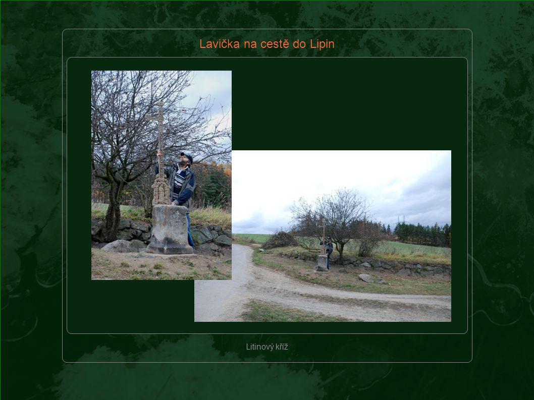 Lavička na cestě do Lipin Litinový kříž