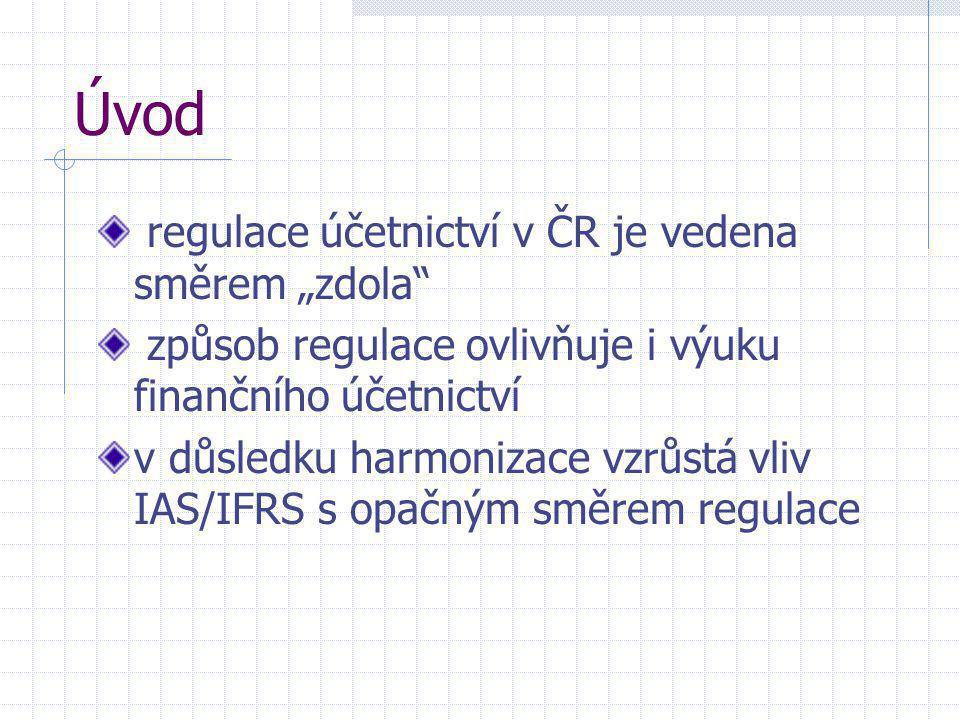 """Úvod regulace účetnictví v ČR je vedena směrem """"zdola"""" způsob regulace ovlivňuje i výuku finančního účetnictví v důsledku harmonizace vzrůstá vliv IAS"""