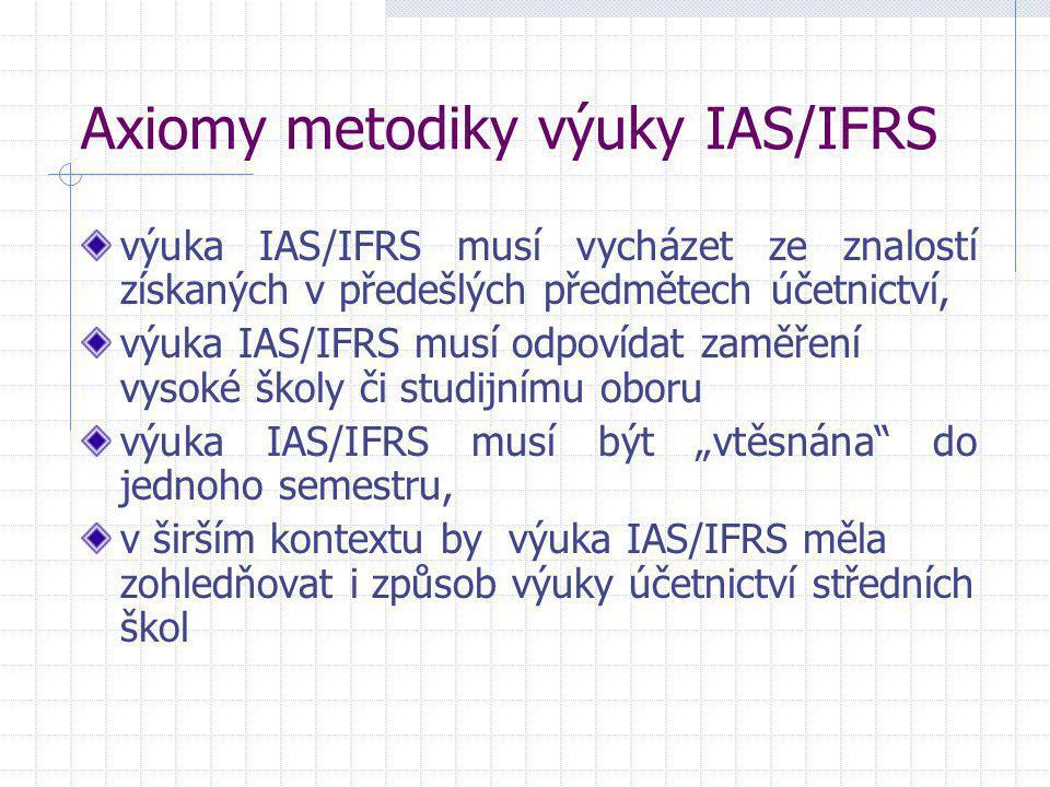 Axiomy metodiky výuky IAS/IFRS výuka IAS/IFRS musí vycházet ze znalostí získaných v předešlých předmětech účetnictví, výuka IAS/IFRS musí odpovídat za