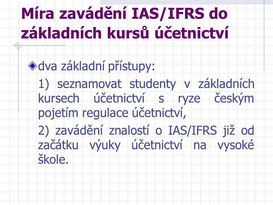 Míra zavádění IAS/IFRS do základních kursů účetnictví dva základní přístupy: 1) seznamovat studenty v základních kursech účetnictví s ryze českým poje
