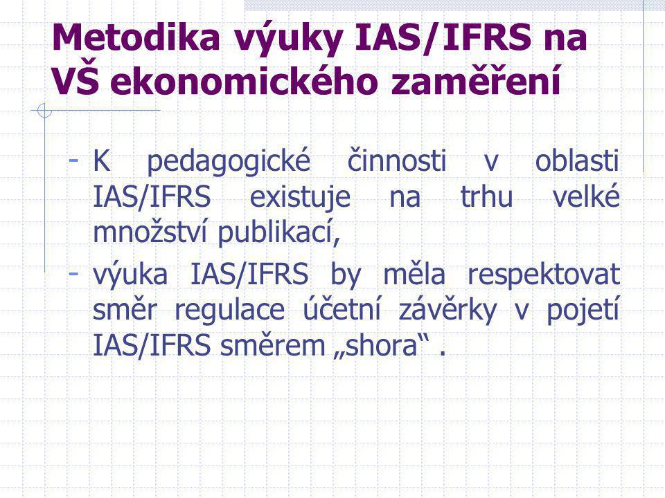 Metodika výuky IAS/IFRS na VŠ ekonomického zaměření - K pedagogické činnosti v oblasti IAS/IFRS existuje na trhu velké množství publikací, - výuka IAS