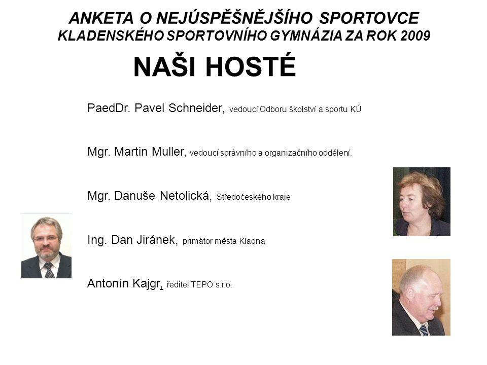 ANKETA O NEJÚSPĚŠNĚJŠÍHO SPORTOVCE KLADENSKÉHO SPORTOVNÍHO GYMNÁZIA ZA ROK 2009 vyhlášení vítěze kategorie KMENOVÍ SPORTOVCI 1.