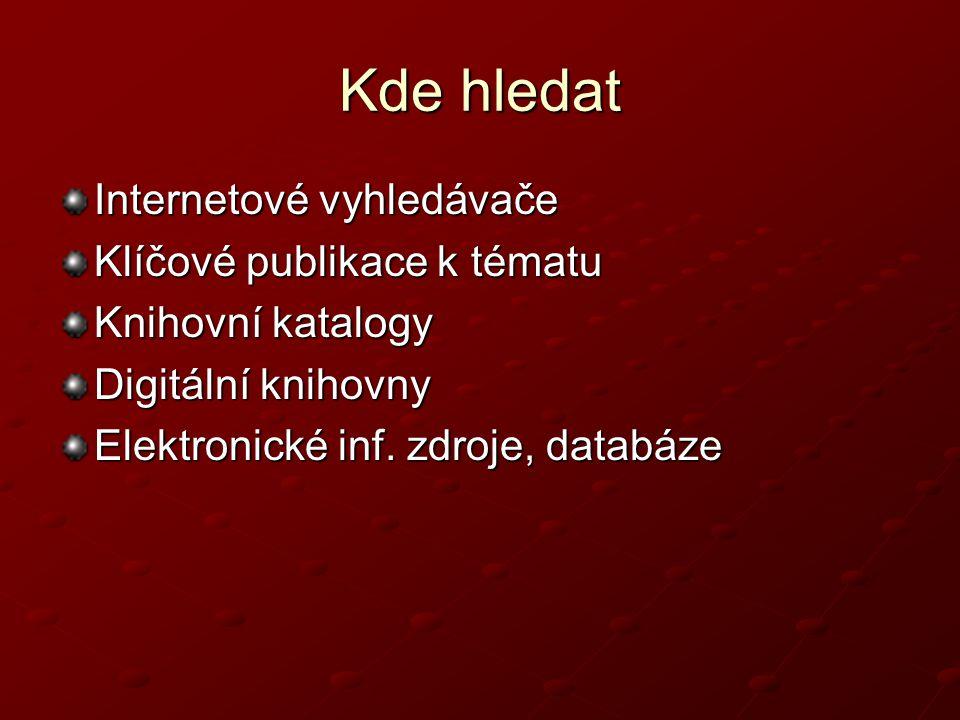 Kde hledat Internetové vyhledávače Klíčové publikace k tématu Knihovní katalogy Digitální knihovny Elektronické inf.