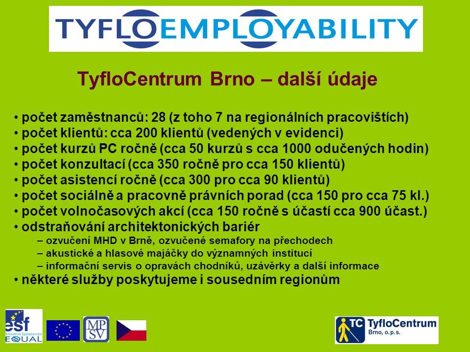 TyfloCentrum Brno – další údaje • počet zaměstnanců: 28 (z toho 7 na regionálních pracovištích) • počet klientů: cca 200 klientů (vedených v evidenci)
