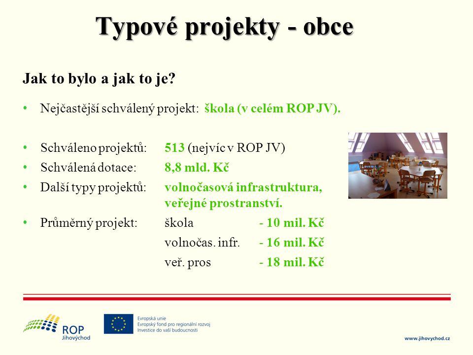 Typové projekty - obce Jak to bylo a jak to je? • Nejčastější schválený projekt: škola (v celém ROP JV). • Schváleno projektů: 513 (nejvíc v ROP JV) •