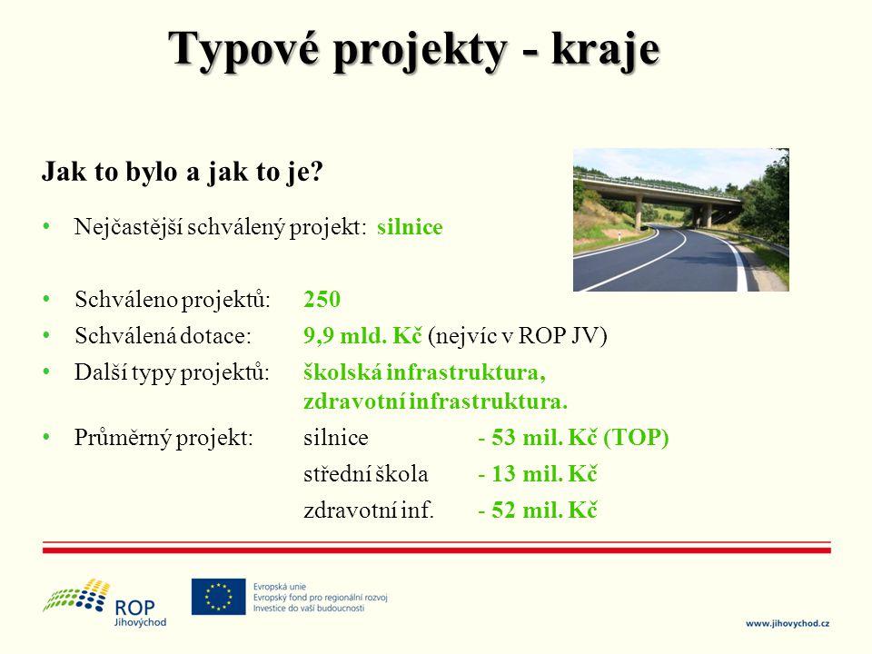 Jak to bylo a jak to je? • Nejčastější schválený projekt: silnice • Schváleno projektů: 250 • Schválená dotace: 9,9 mld. Kč (nejvíc v ROP JV) • Další