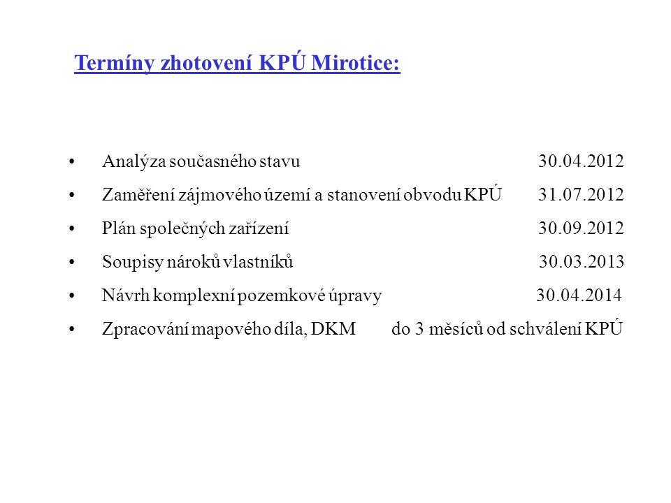 Termíny zhotovení KPÚ Mirotice: •Analýza současného stavu30.04.2012 •Zaměření zájmového území a stanovení obvodu KPÚ 31.07.2012 •Plán společných zaříz