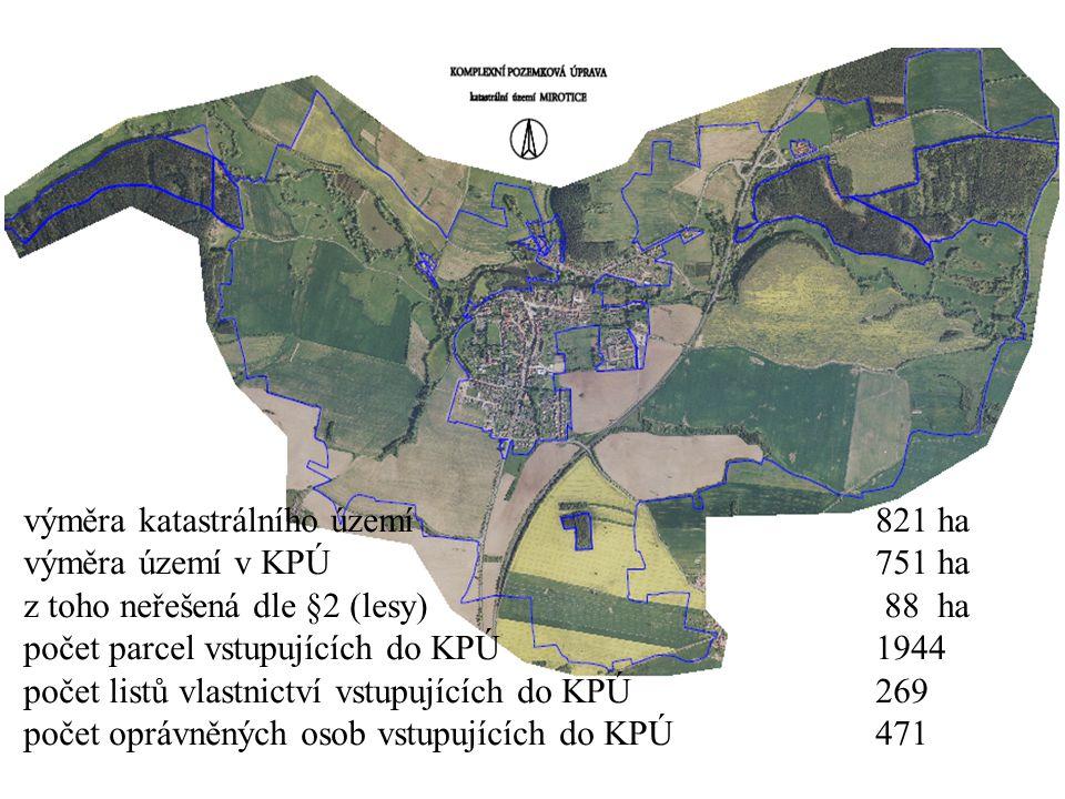 výměra katastrálního území 821 ha výměra území v KPÚ 751 ha z toho neřešená dle §2 (lesy) 88 ha počet parcel vstupujících do KPÚ 1944 počet listů vlas