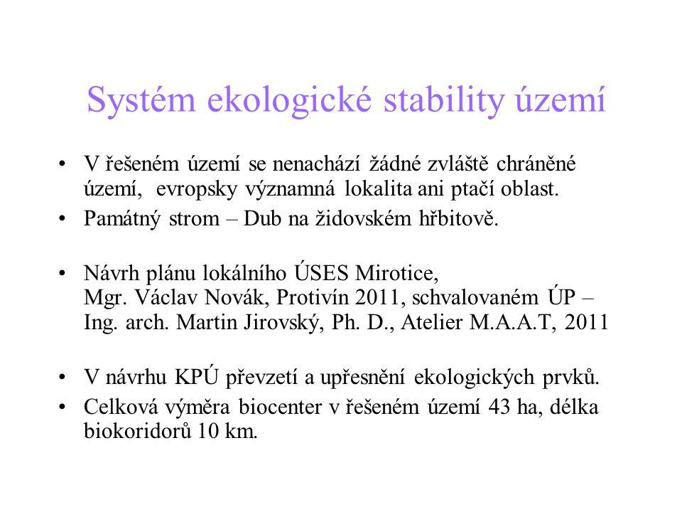 Systém ekologické stability území •V řešeném území se nenachází žádné zvláště chráněné území, evropsky významná lokalita ani ptačí oblast. •Památný st