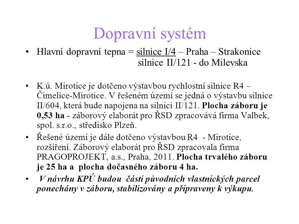 Dopravní systém •Hlavní dopravní tepna = silnice I/4 – Praha – Strakonice silnice II/121 - do Milevska •K.ú. Mirotice je dotčeno výstavbou rychlostní