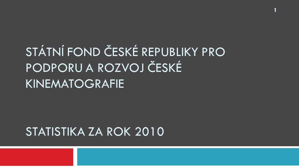 STÁTNÍ FOND ČESKÉ REPUBLIKY PRO PODPORU A ROZVOJ ČESKÉ KINEMATOGRAFIE STATISTIKA ZA ROK 2010 1