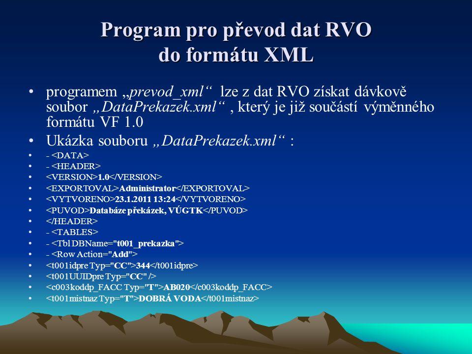 """Program pro převod dat RVO do formátu XML •programem """"prevod_xml lze z dat RVO získat dávkově soubor """"DataPrekazek.xml , který je již součástí výměnného formátu VF 1.0 •Ukázka souboru """"DataPrekazek.xml : •- • 1.0 • Administrator • 23.1.2011 13:24 • Databáze překázek, VÚGTK • •- • 344 • • AB020 • DOBRÁ VODA"""