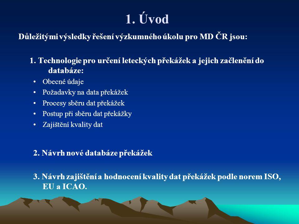 1.Úvod Důležitými výsledky řešení výzkumného úkolu pro MD ČR jsou: 1.