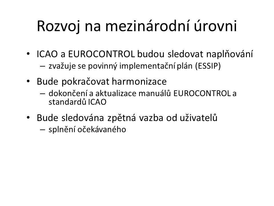 Rozvoj na mezinárodní úrovni • ICAO a EUROCONTROL budou sledovat naplňování – zvažuje se povinný implementační plán (ESSIP) • Bude pokračovat harmoniz