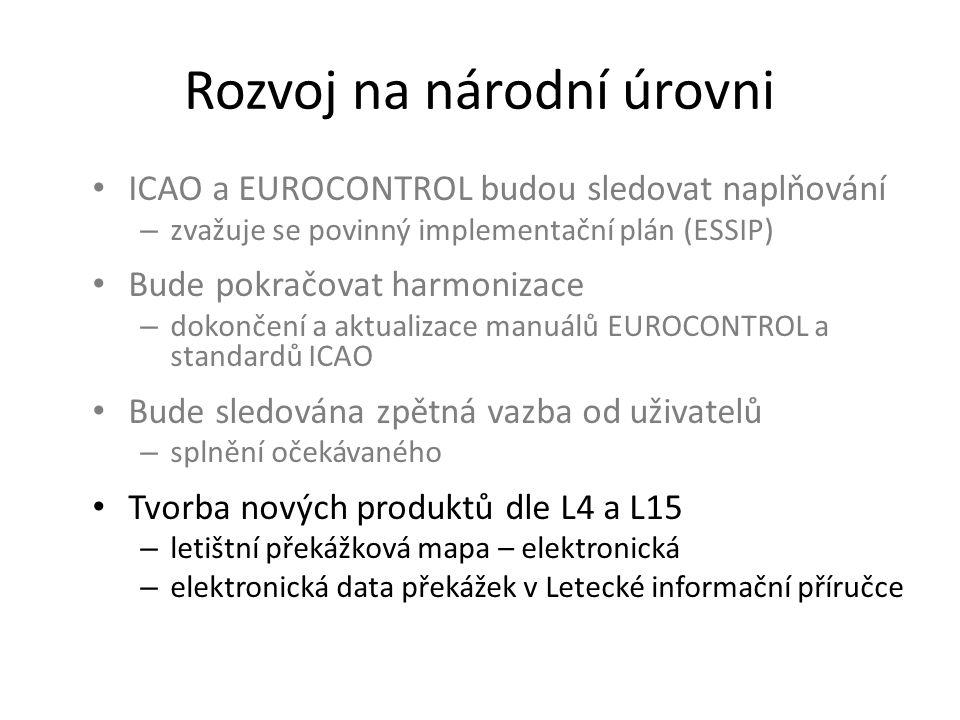 Rozvoj na národní úrovni • ICAO a EUROCONTROL budou sledovat naplňování – zvažuje se povinný implementační plán (ESSIP) • Bude pokračovat harmonizace