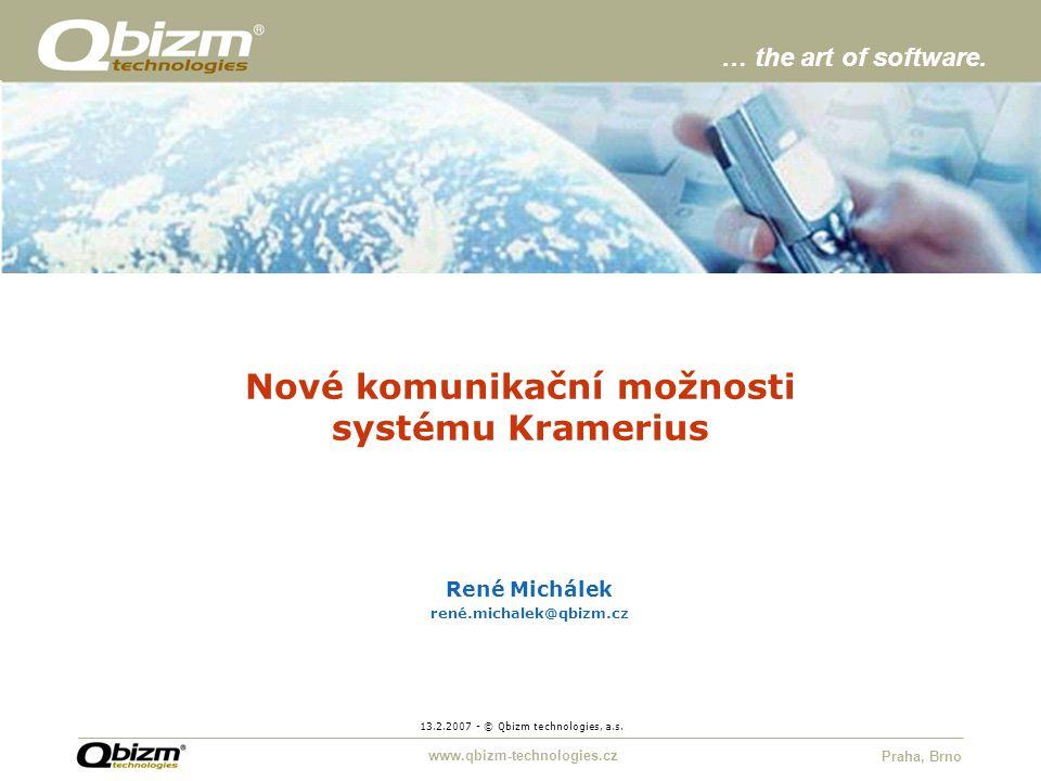 www.qbizm-technologies.cz Praha, Brno Nové komunikační možnosti systému Kramerius 13.2.2007 - © Qbizm technologies, a.s.