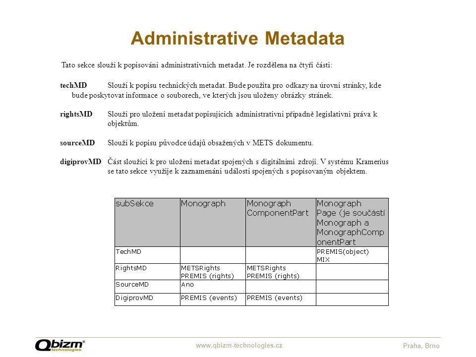 www.qbizm-technologies.cz Praha, Brno Administrative Metadata Tato sekce slouží k popisování administrativních metadat. Je rozdělena na čtyři části: t
